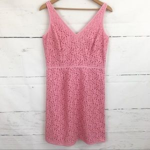 Ann Taylor Cotton Lace Pink V Neck Dress